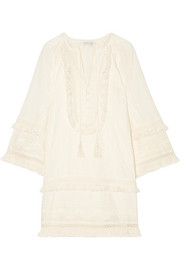 Abigail fringed broderie anglaise cotton mini dress