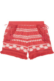 Karlene tasseled embroidered cotton-gauze shorts