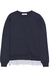 Ruffle-trimmed French cotton-terry sweatshirt