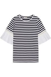 Broderie anglaise-trimmed striped cotton-jersey T-shirt