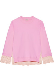 CLU Broderie anglaise-paneled cotton-jersey sweatshirt