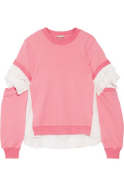 Plissé tulle-paneled French cotton-terry sweatshirt