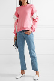 CLU Plissé tulle-paneled French cotton-terry sweatshirt