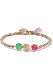 Brooke Gregson Triple Orbit 18-karat gold, emerald and sapphire bracelet