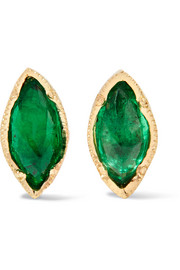 18-karat gold emerald earrings