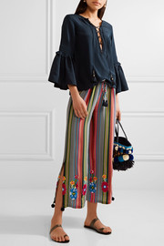 Goa embroidered striped silk-georgette wide-leg pants