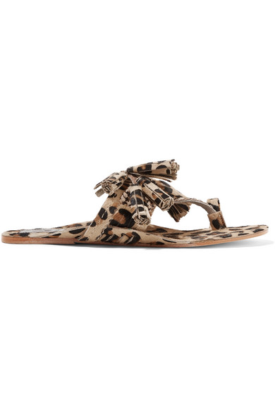 Figue - Scaramouche Tasseled Leopard-print Calf Hair Sandals - Leopard print