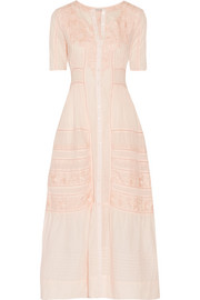 Della pointelle-trimmed embroidered cotton maxi dress