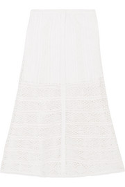 Bali crocheted lace-paneled cotton skirt