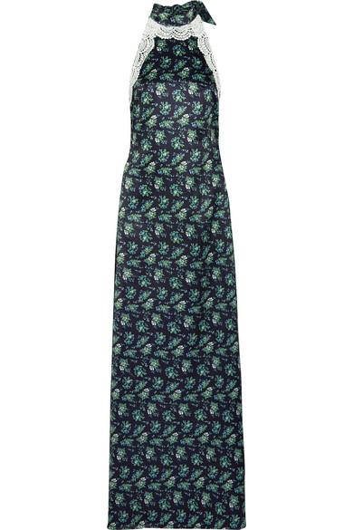 115960dcb88 House of Holland. Robe longue dos-nu en satin à imprimé fleuri à finitions  en dentelle
