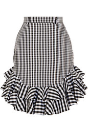 Ruffled gingham cotton-poplin mini skirt
