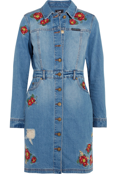 House of Holland - + Lee Embroidered Denim Mini Dress - Light denim