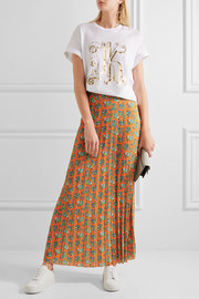 Pleated floral-print crepe maxi skirt