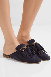 Fringed suede slippers