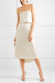 Halston Heritage Tiered satin midi dress