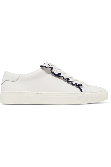 Tory Burch - Ruffled Leather Sneakers - White