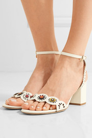 Tory Burch Marguerite embellished perforated leather sandals