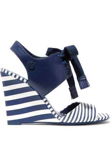 Tory Burch - Maritime Lace-up Striped Leather Wedge Sandals - Navy