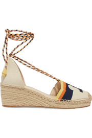 Tory Burch Laguna leather-trimmed canvas wedge espadrilles