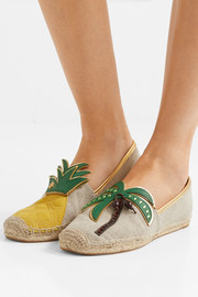 Castaway leather-paneled linen-canvas espadrilles
