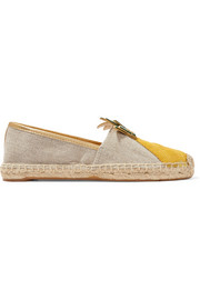 Tory Burch Castaway leather-paneled linen-canvas espadrilles