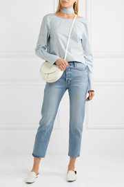 Reverse striped cotton-poplin shirt