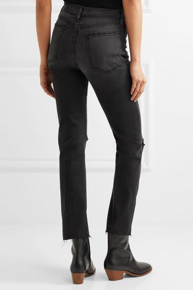Le High Distressed Straight-Leg Jeans Frame Denim UpksAYL2j