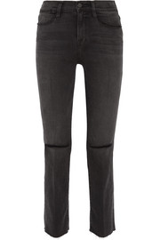 FRAME Le High distressed mid-rise straight-leg jeans