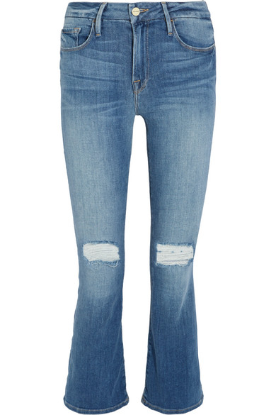FRAME | Le Crop Mini mid-rise distressed bootcut jeans | NET-A ...