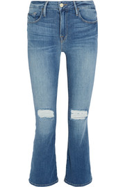 FRAME Le Crop Mini mid-rise distressed bootcut jeans