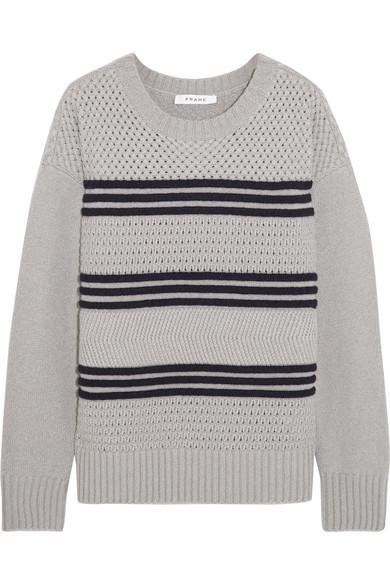 FRAME - Striped Mercerized Wool-blend Sweater - Gray