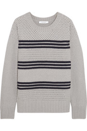 Striped mercerized wool-blend sweater
