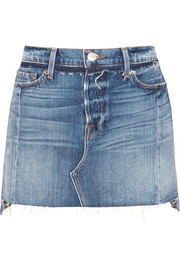 FRAME Nouveau Le Mini Mix distressed denim skirt