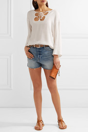 FRAME Le Original Tulip distressed denim shorts