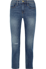 FRAME Le Boy distressed high-rise slim-leg jeans
