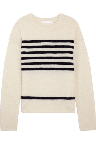 FRAME - Striped Stretch-knit Sweater - Off-white