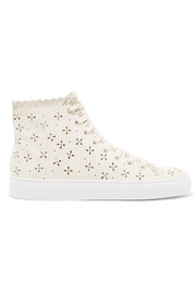 Simone Rocha Laser-cut leather high-top sneakers