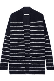 Striped wool-blend bouclé cardigan