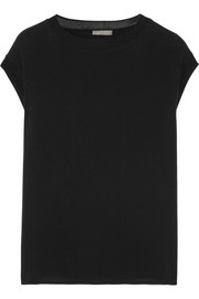Vince Ribbed knit-trimmed silk top