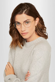 Victoria Beckham Windsor round-frame acetate and gold-tone optical glasses