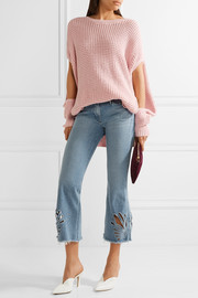 Freja cropped cutout high-rise bootcut jeans