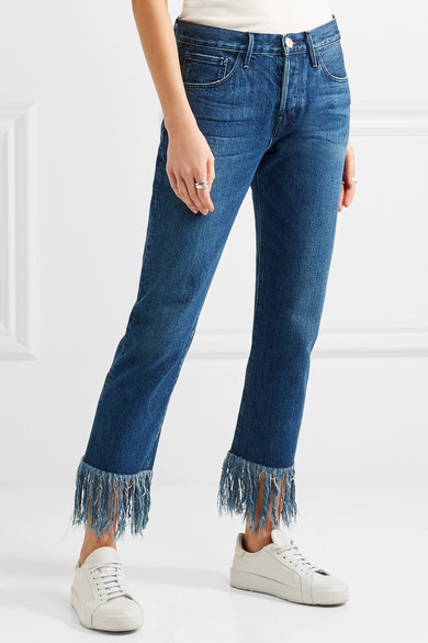 Woman Wm3 Crop Fringe Mid-rise Straight-leg Jeans White Size 29 3x1 PfTxGFpX