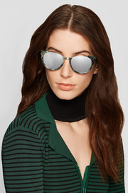 Cat-eye acetate and platinum-plated mirrored sunglasses
