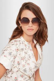 Linda Farrow Octagon-frame gold-plated sunglasses