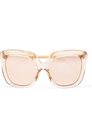 Oversized square-frame acetate mirrored sunglasses