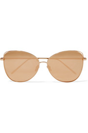 Linda Farrow Oversized cat-eye gold-plated mirrored sunglasses