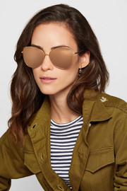 Oversized cat-eye gold-plated mirrored sunglasses