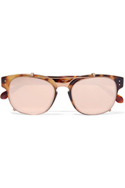 Square-frame acetate and rose gold-plated sunglasses