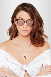 Linda Farrow Square-frame acetate and rose gold-plated sunglasses