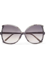 Oversized butterfly-frame marbled acetate sunglasses
